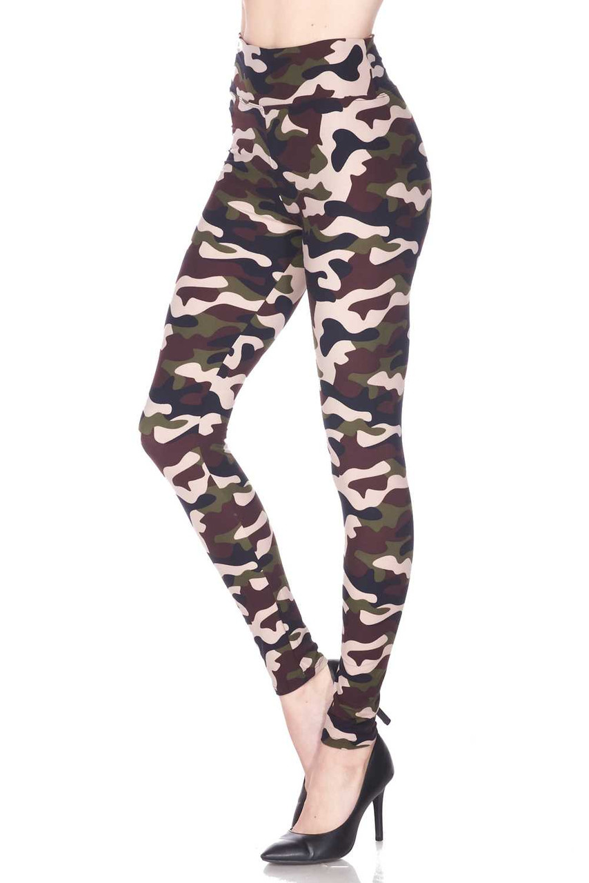 Our Buttery Soft Flirty Camouflage High Waist Plus Size Leggings feature a classic army print design with a mixed brown and olive color scheme.