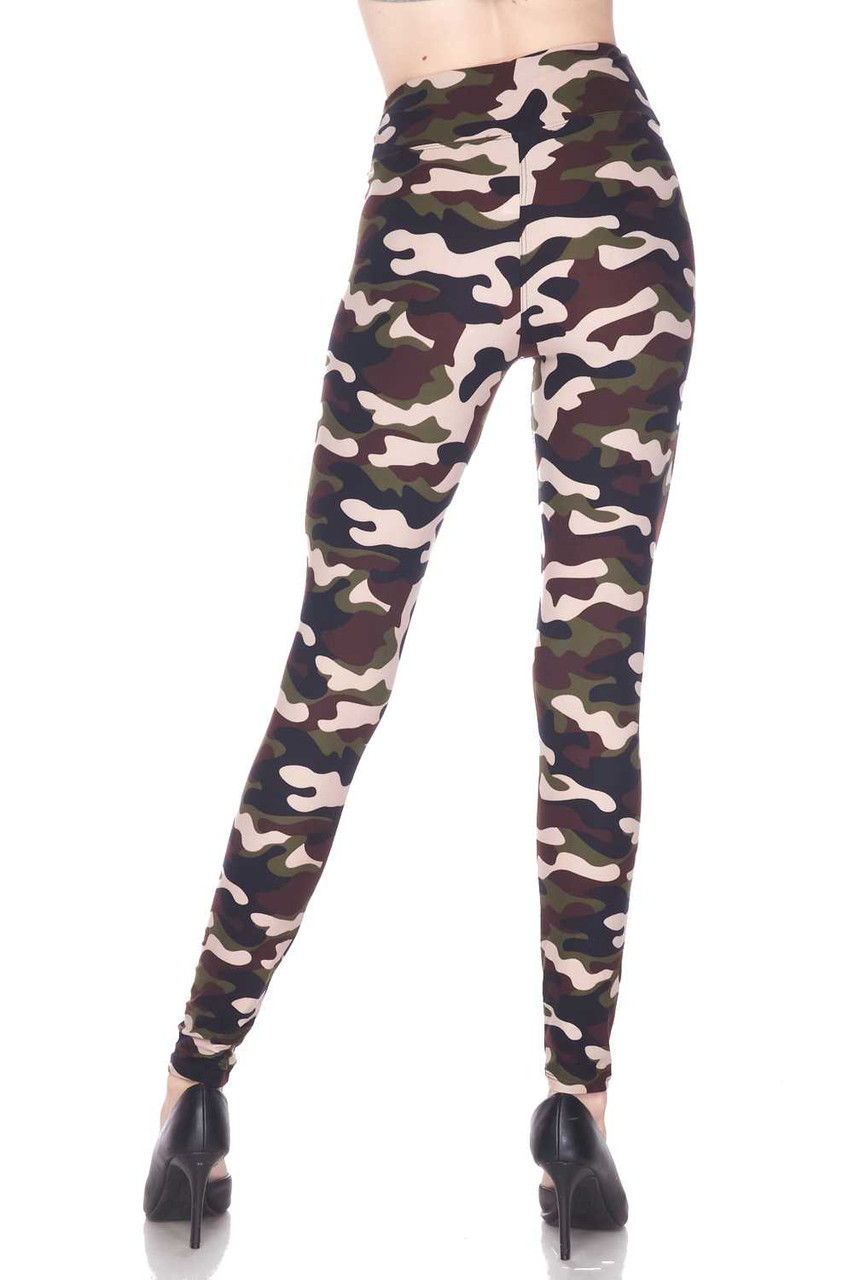 Rear view image of our Buttery Soft Flirty Camouflage High Waist Plus Size Leggings feature a flattering body fitted style.