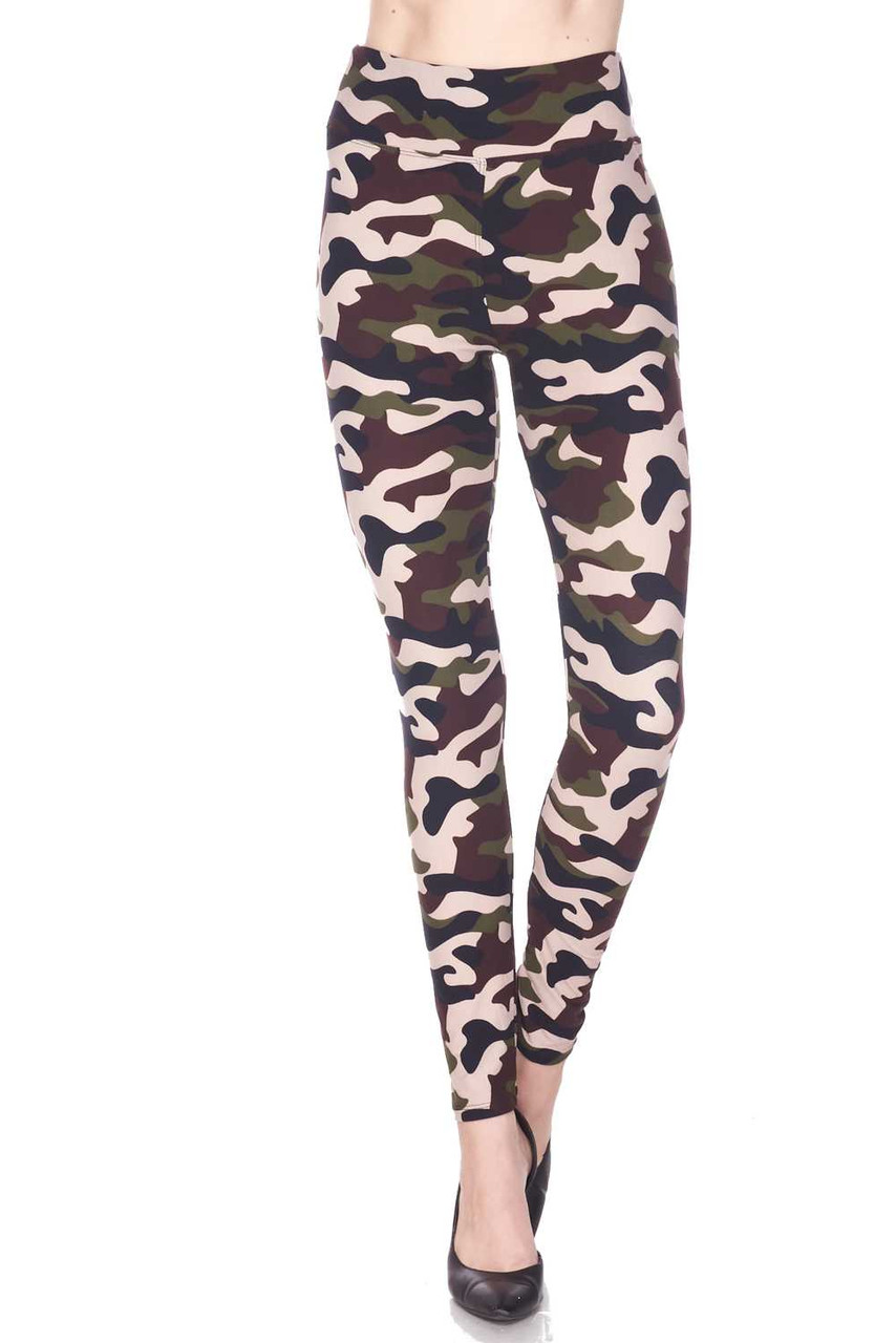 Our Buttery Soft Flirty Camouflage High Waist Plus Size Leggings feature a full length skinny leg cut.