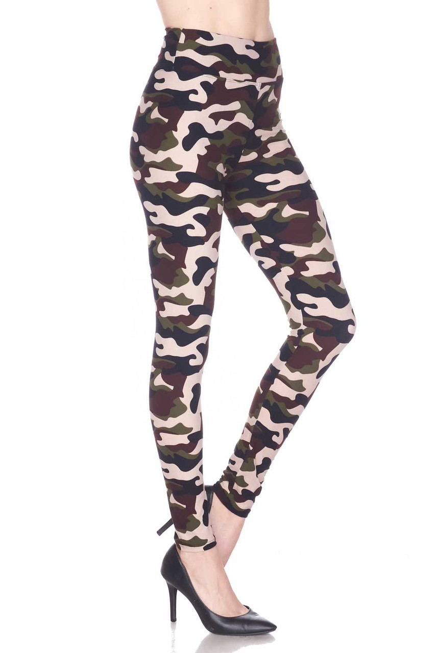 Right side view image of our Buttery Soft Flirty Camouflage High Waist Plus Size Leggings, with a look that is ideal for any season.