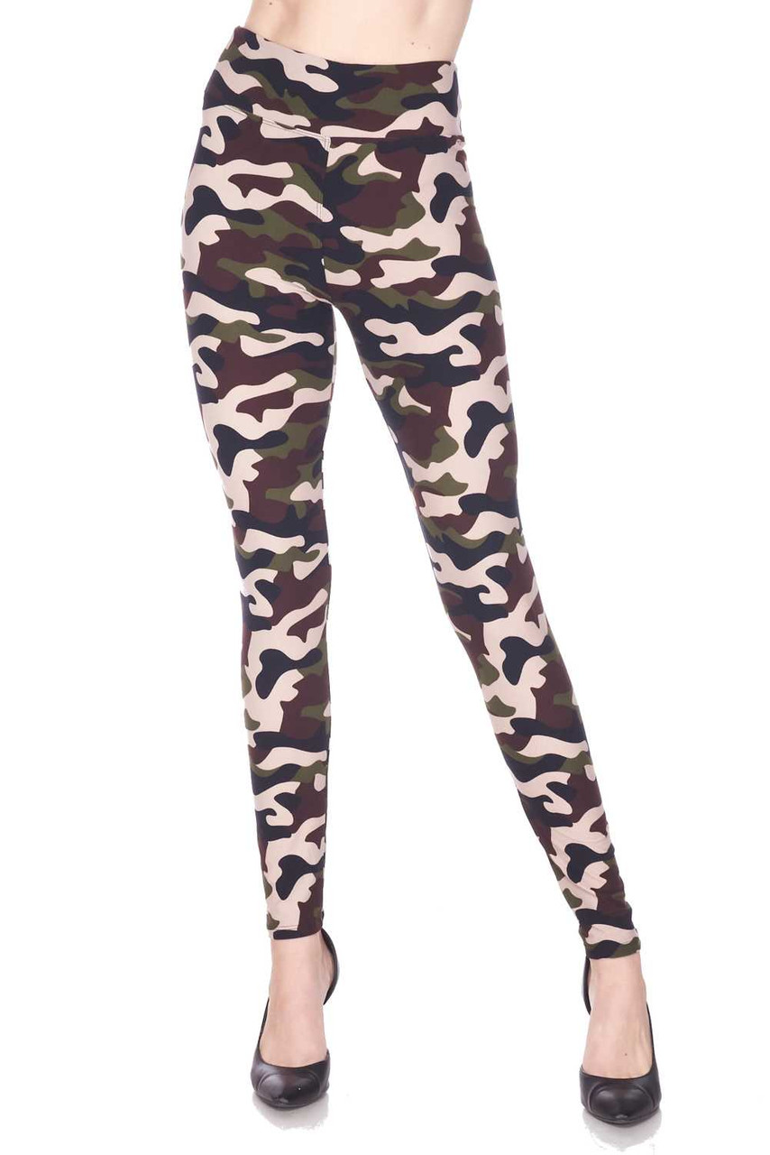 These Buttery Soft Flirty Camouflage High Waist Plus Size Leggings feature a comfort fabric waist.