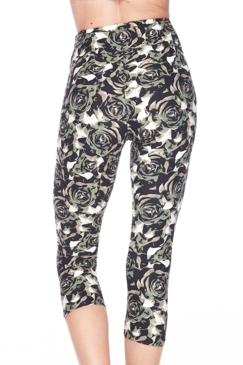 These Buttery Soft Olive Rose Capris  feature a cropped mid calf length cut.