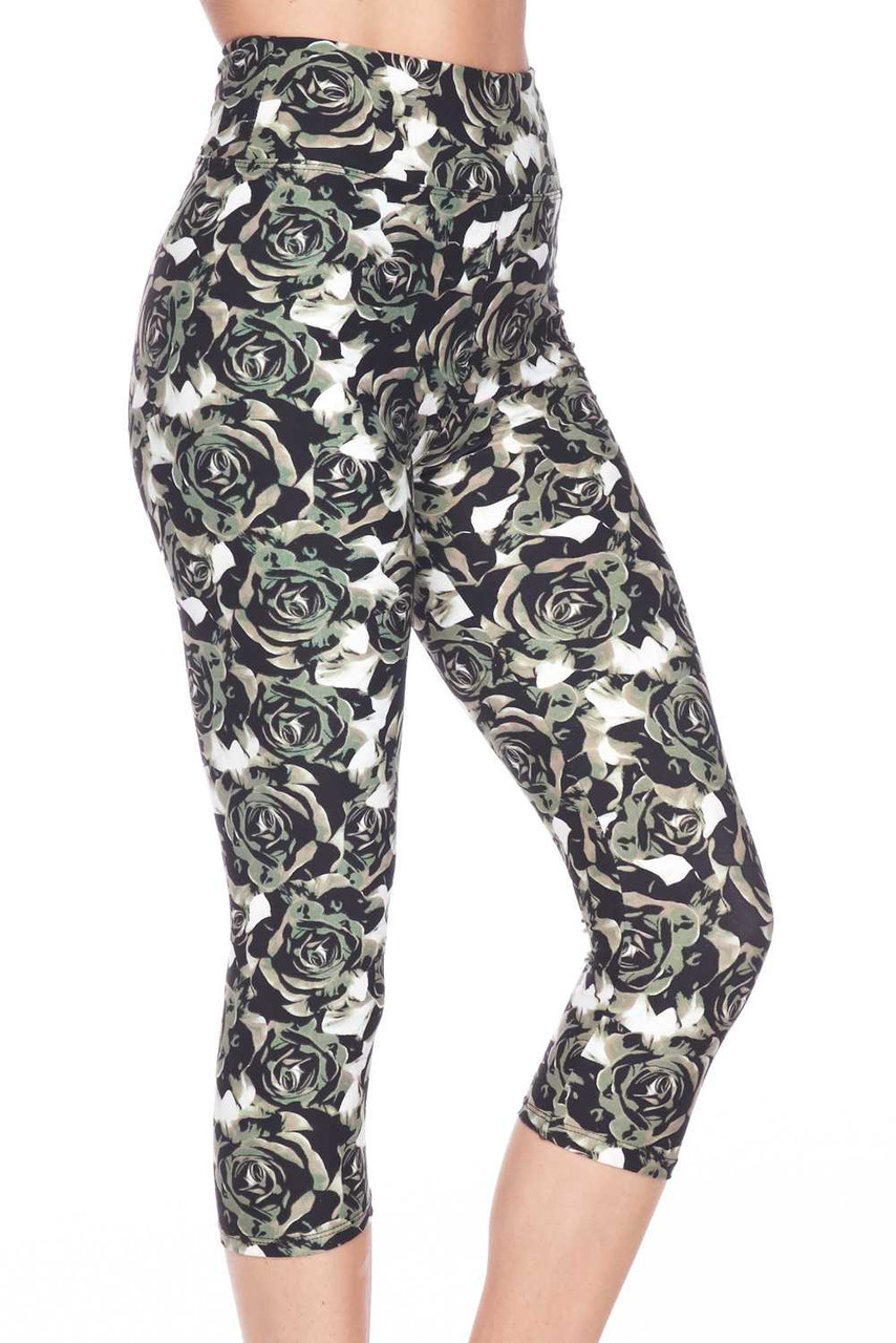 Our Buttery Soft Olive Rose Capris  feature a 3 Inch comfort fabric high waistband.