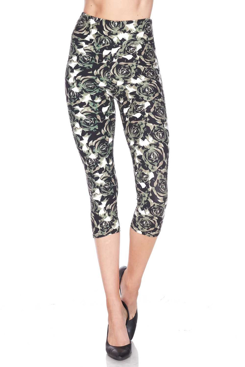 Front view of our Buttery Soft Olive Rose Capris  - 3 Inch