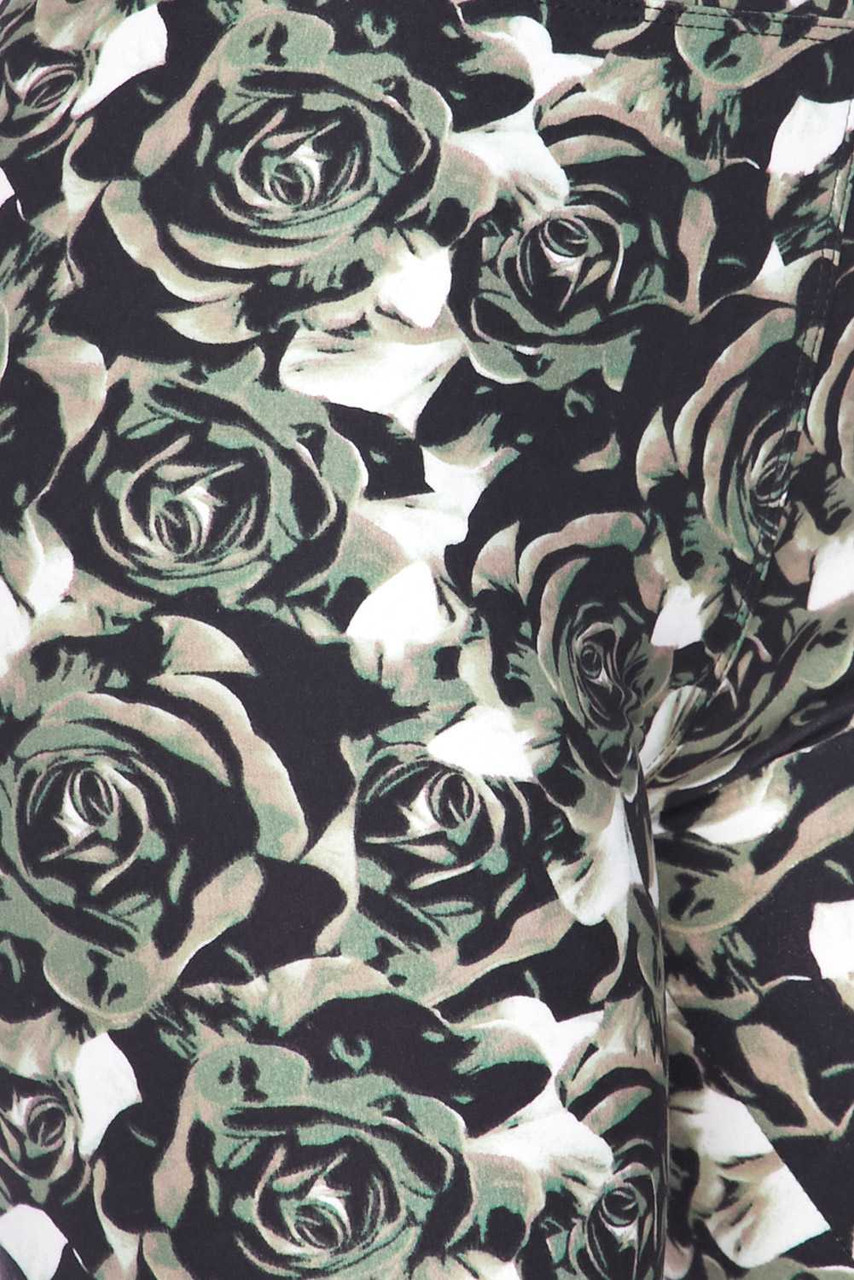 Close up swatch of Buttery Soft Olive Rose Capris - 3 Inch