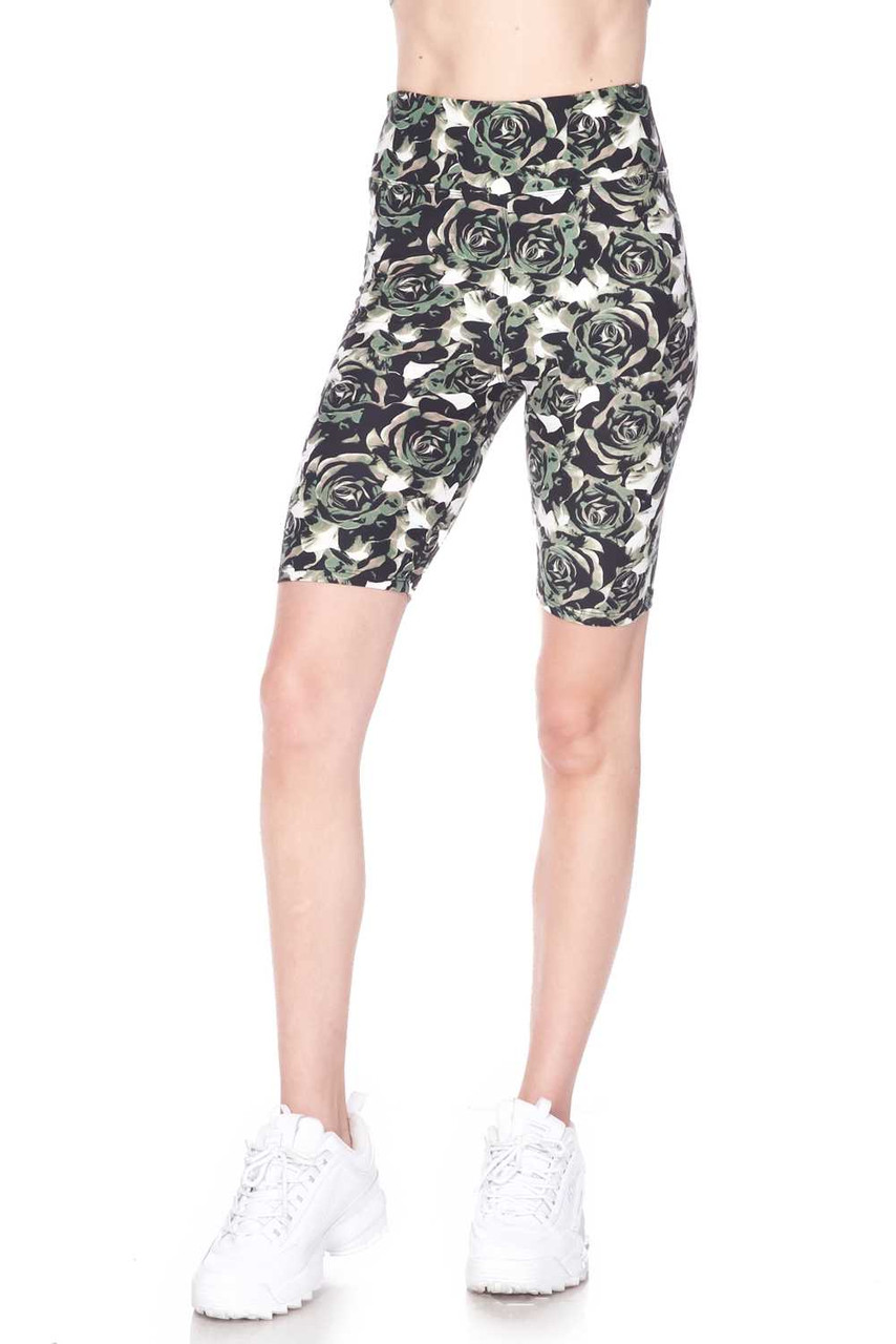 Our Buttery Soft Olive Rose Shorts feature a 3 Inch comfort fabric high waistband.