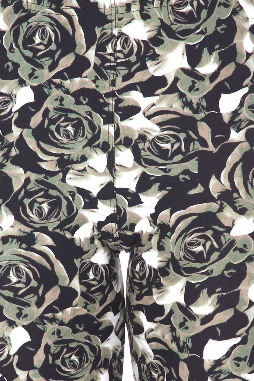 Close up swatch of Buttery Soft Olive Rose Plus Size Shorts - 3 Inch