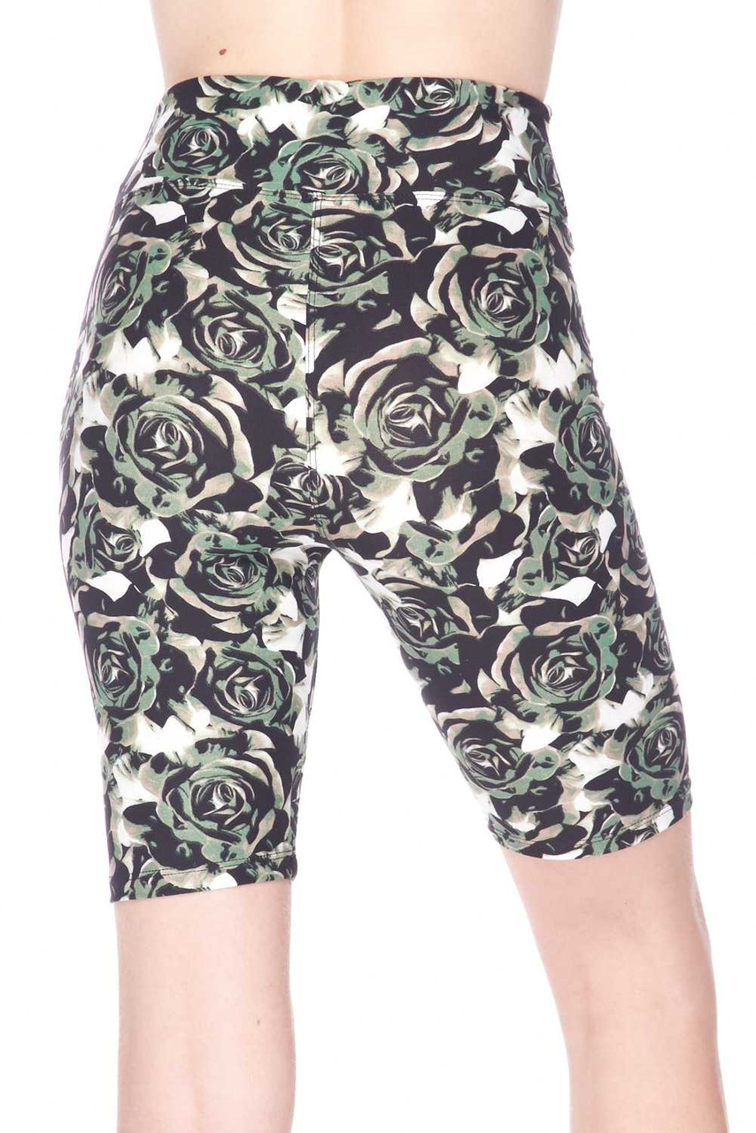 These Buttery Soft Olive Rose Plus Size Shorts feature a mid thigh length cut.