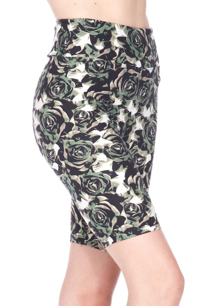 Our Buttery Soft Olive Rose Plus Size Shorts feature a flattering body fitted style.