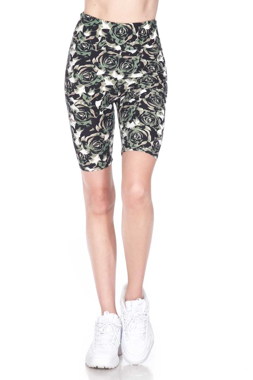 Front view of our Buttery Soft Olive Rose Plus Size Shorts - 3 Inch