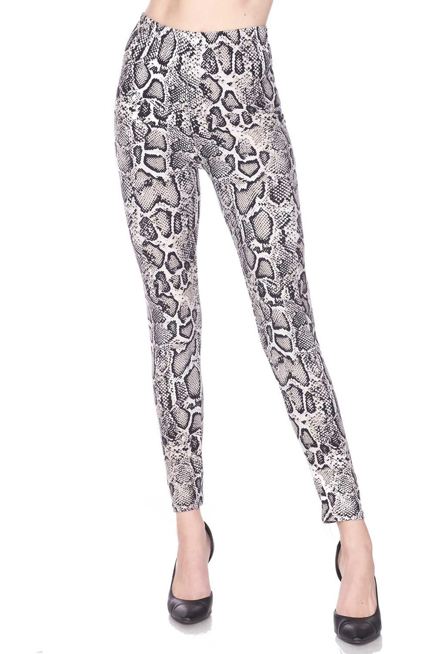 Our Buttery Soft Beige Boa Snakeskin Plus Size Leggings feature a sassy all over neutral toned reptile print.