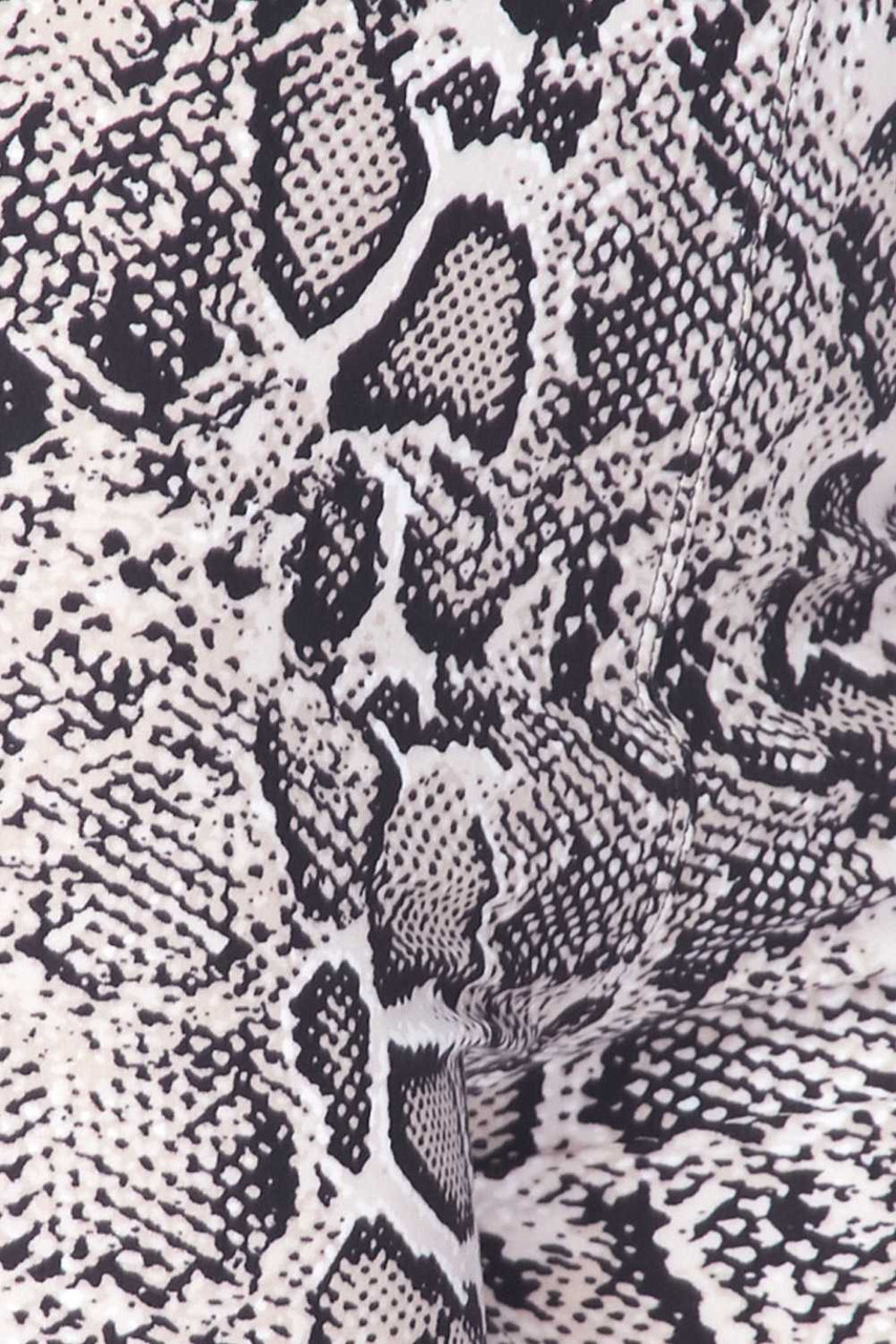Close up swatch of Buttery Soft Beige Boa Snakeskin Plus Size Leggings