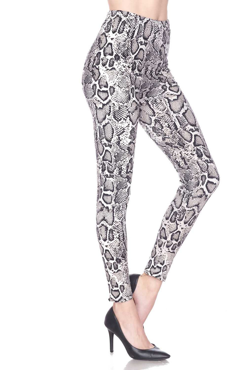 Right side view image of Buttery Soft Beige Boa Snakeskin Extra Plus Size Leggings - 3X-5X