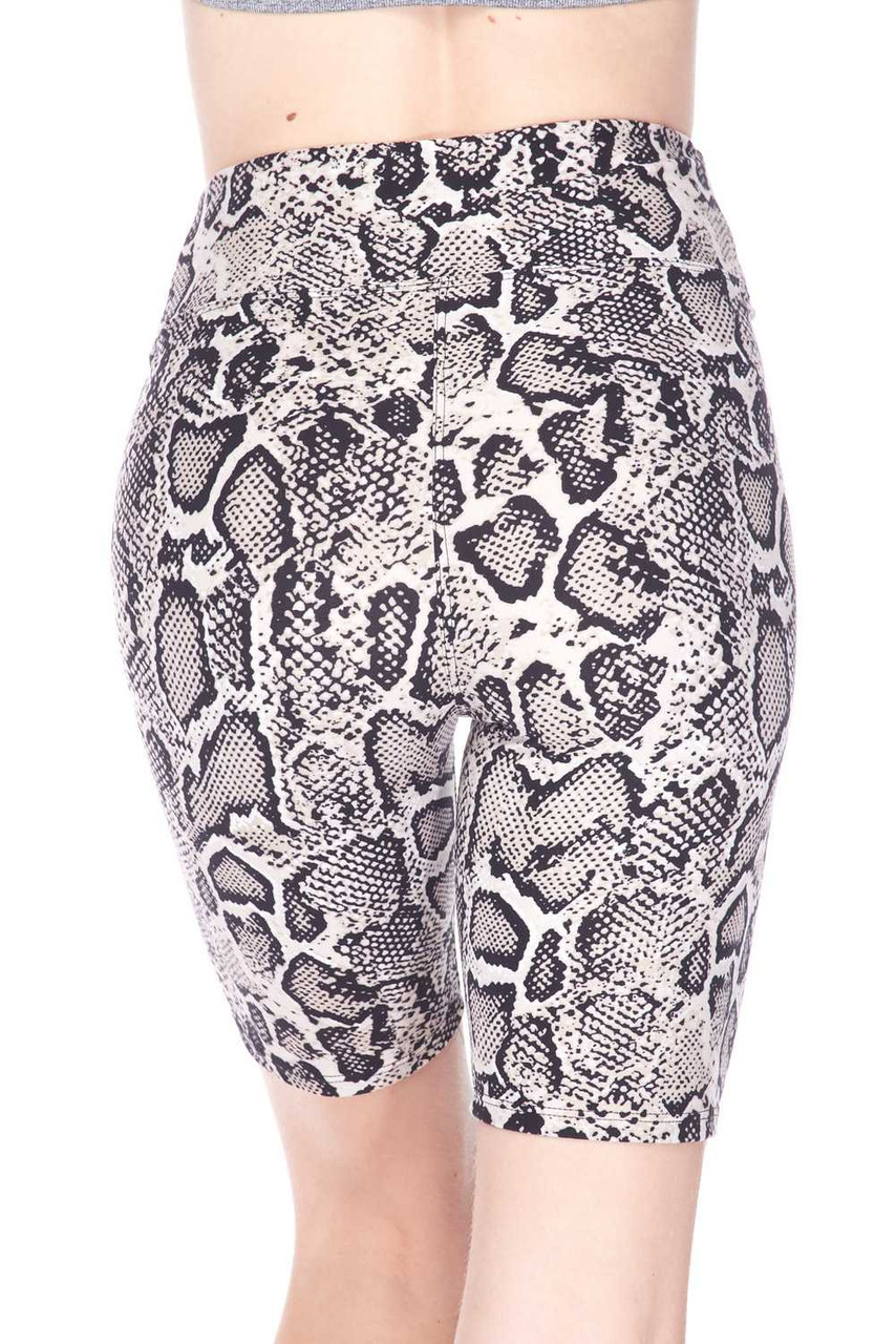 Rear view of our fitted and flattering Buttery Soft Beige Boa Snakeskin Plus Size Shorts