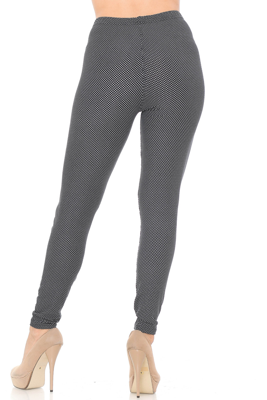 Back view image of our figure flattering Buttery Soft Mini Polka Dot Plus Size Leggings