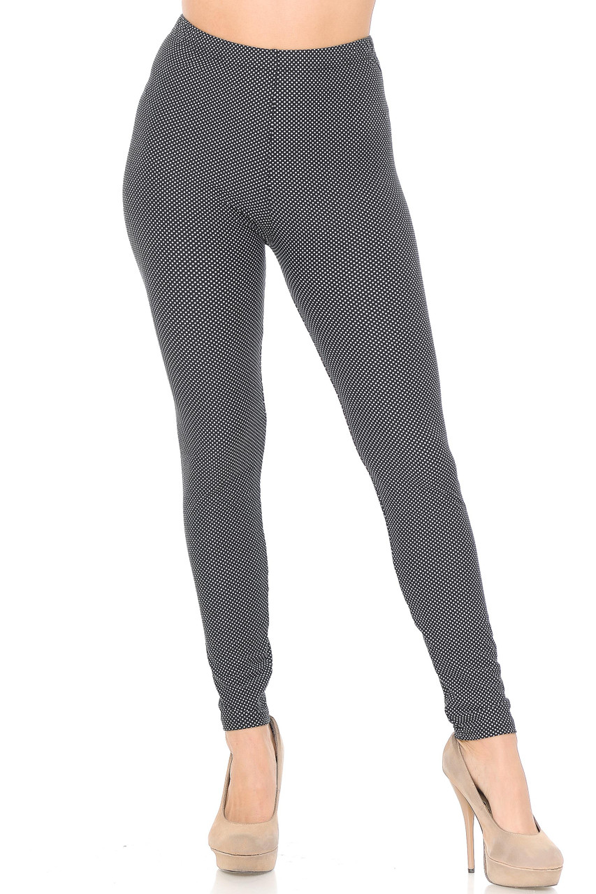 Our Buttery Soft Mini Polka Dot Plus Size Leggings can be styled to look retro or modern, and feature a full length skinny leg cut.