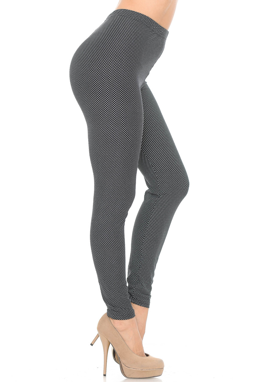 Right side view image of Buttery Soft Mini Polka Dot Plus Size Leggings