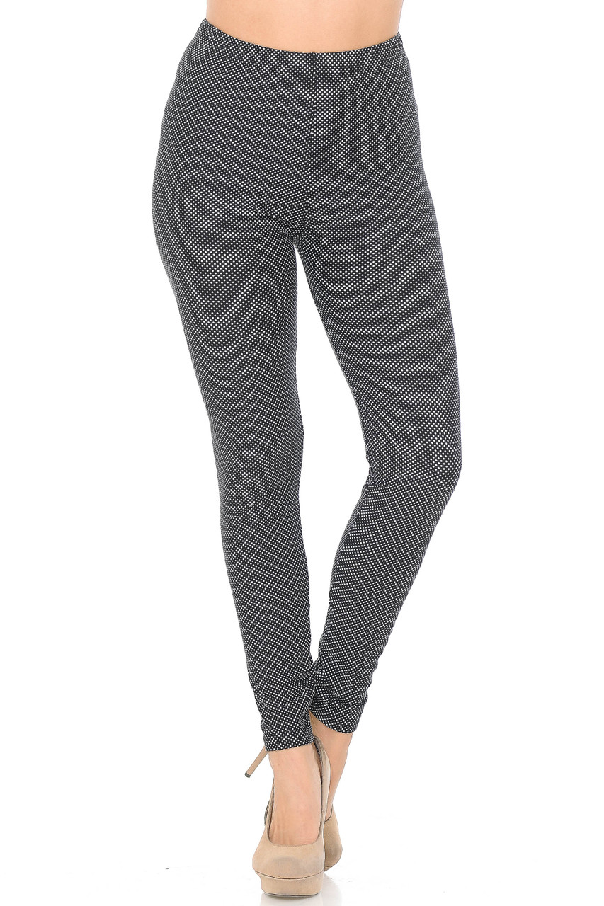 Our Buttery Soft Mini Polka Dot Plus Size Leggings feature an elastic stretch waistband that comes up to about mid rise.