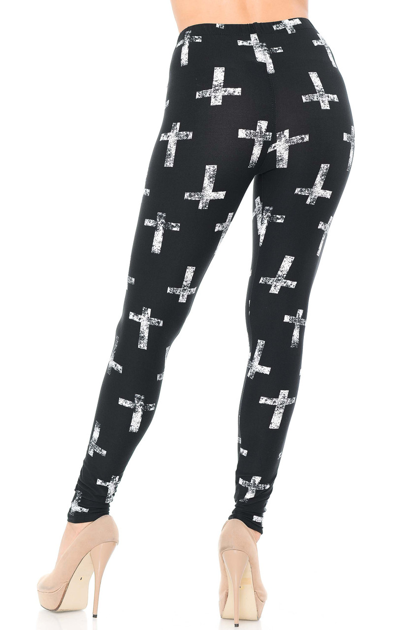Rear view image of our flattering body hugging fit Buttery Soft Faded Cross Plus Size Leggings.