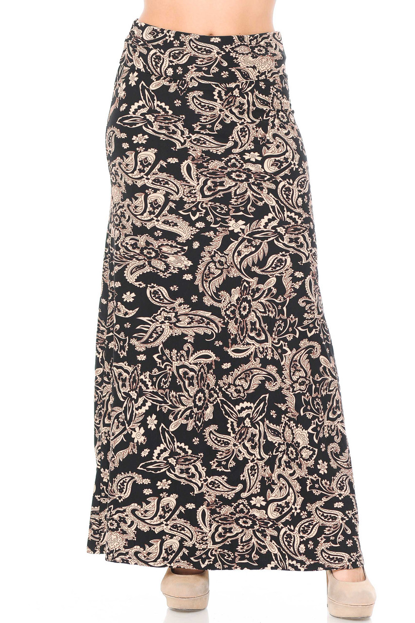 Front view image of our Buttery Soft Sand Pepper Paisley Maxi Skirt featuring a high comfort fabric waist.