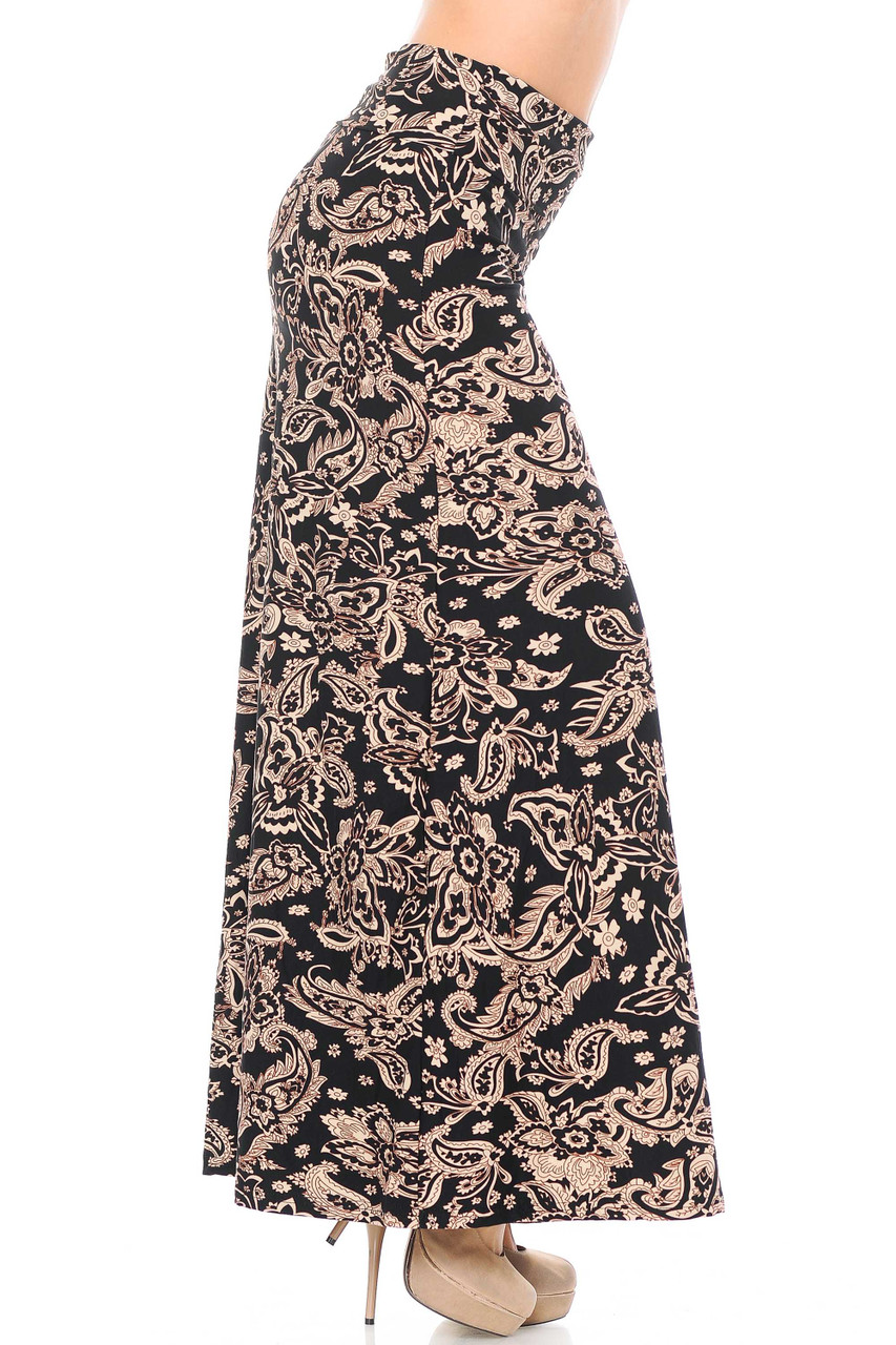 Right side view of Buttery Soft Sand Pepper Paisley Maxi Skirt