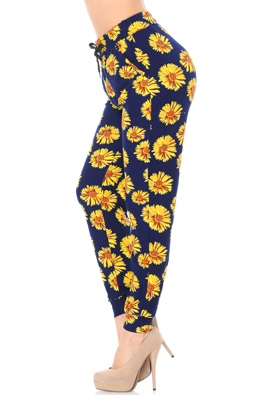 Left view image of our casual yet trendy Buttery Soft Summer Daisy Joggers