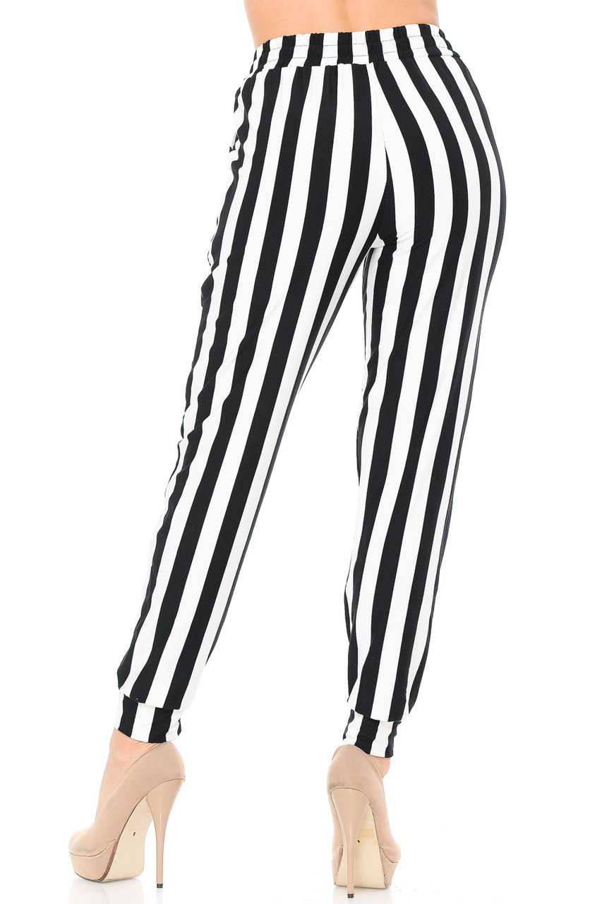Rear view image of our casual yet trendy Buttery Soft Black and White Wide Stripe Joggers