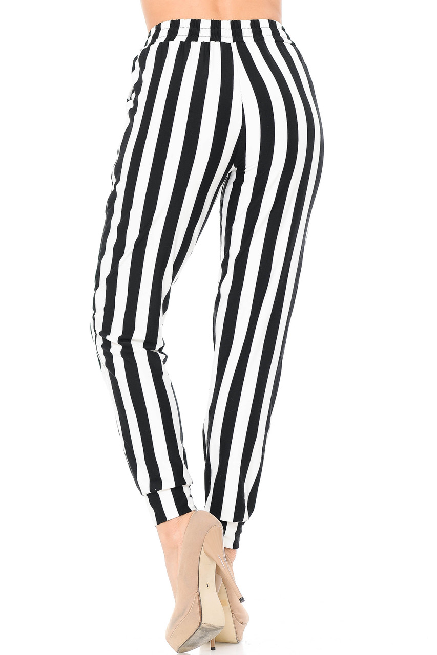 Rear view image of Buttery Soft Black and White Wide Stripe Joggers