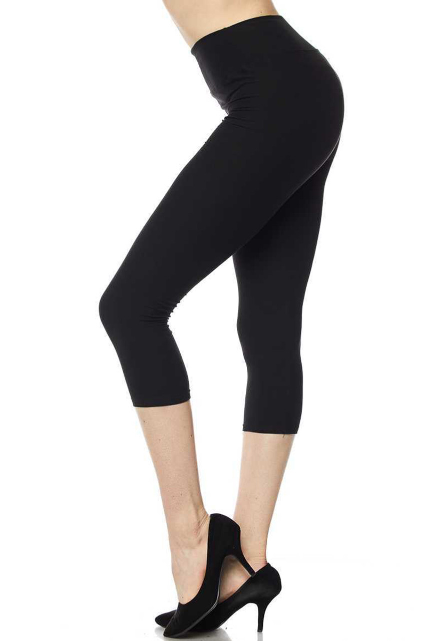 Left side view of black Buttery Soft High Waisted Basic Solid Capri - 3 Inch Waist
