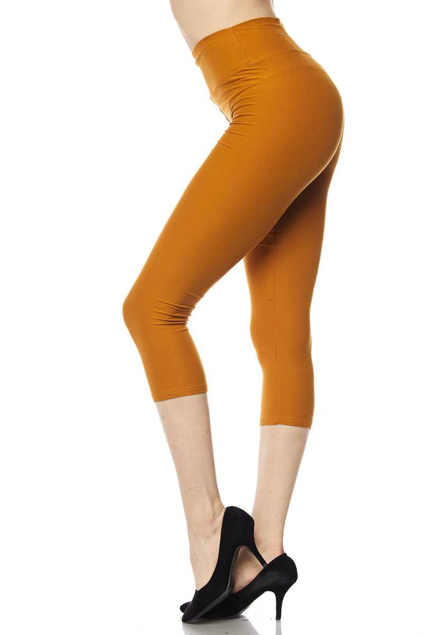 Left view of mustard Buttery Soft High Waisted Basic Solid Capri - 3 Inch Waist