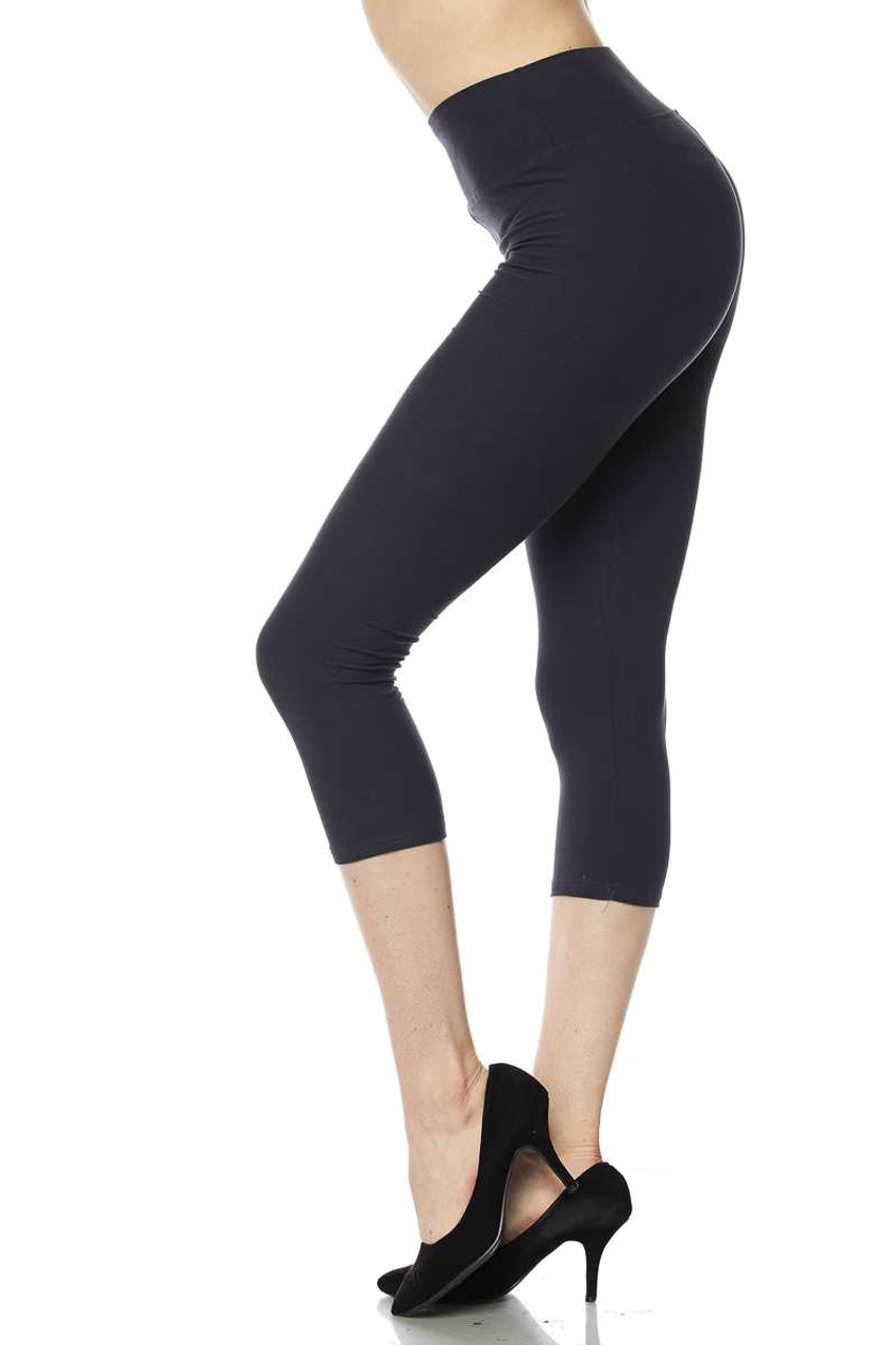 Left view of charcoal Buttery Soft High Waisted Basic Solid Capri - 3 Inch Waist