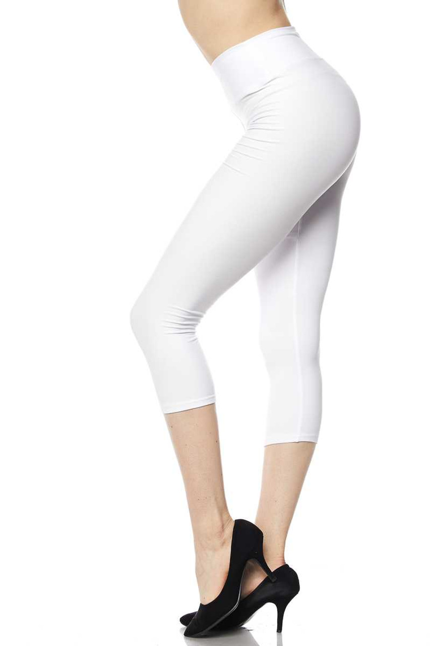 Left side view of white Buttery Soft Basic Solid High Waisted Plus Size Capris - 3 Inch - New Mix