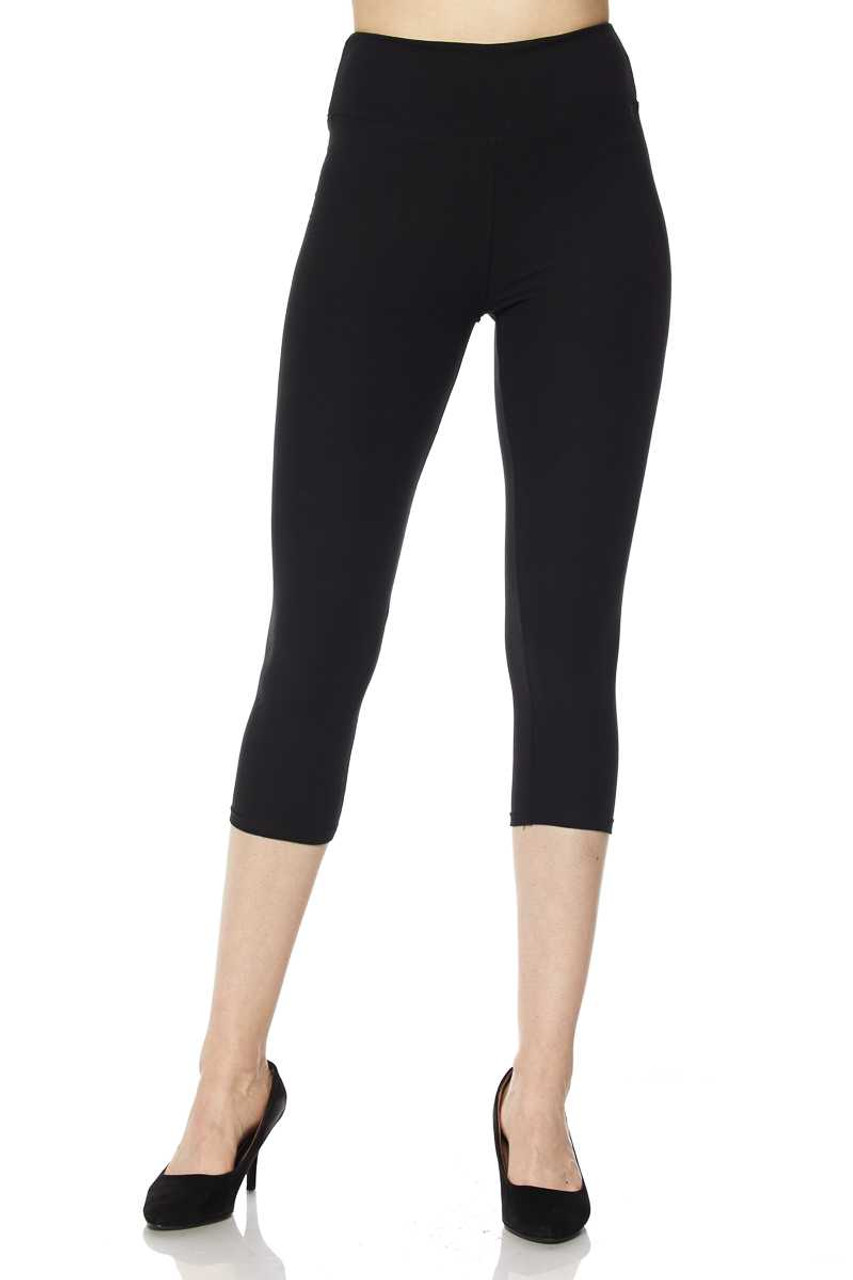 Front view of black Buttery Soft Basic Solid High Waisted Plus Size Capris - 3 Inch - New Mix
