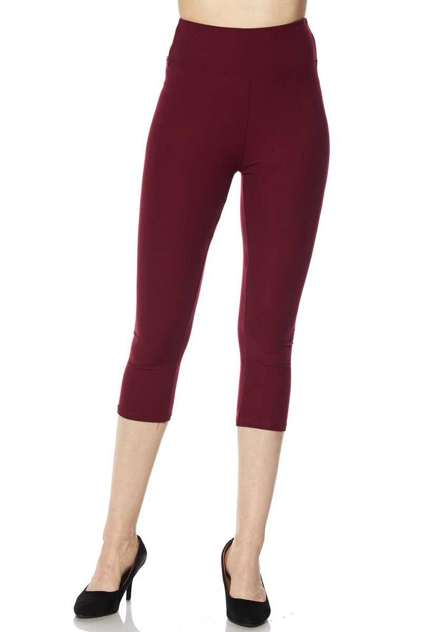 Front view of burgundy Buttery Soft Basic Solid High Waisted Plus Size Capris - 3 Inch - New Mix