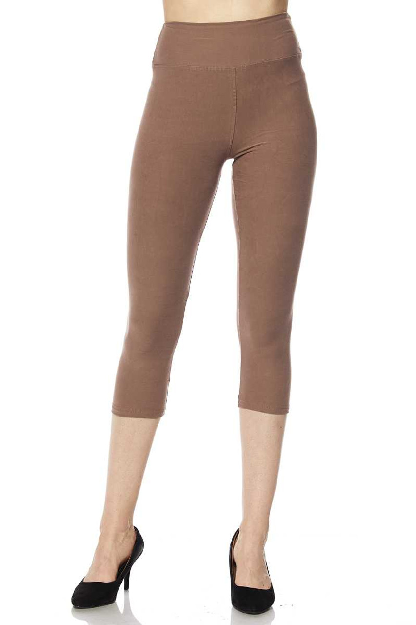 Front view of mocha Buttery Soft Basic Solid High Waisted Plus Size Capris - 3 Inch - New Mix