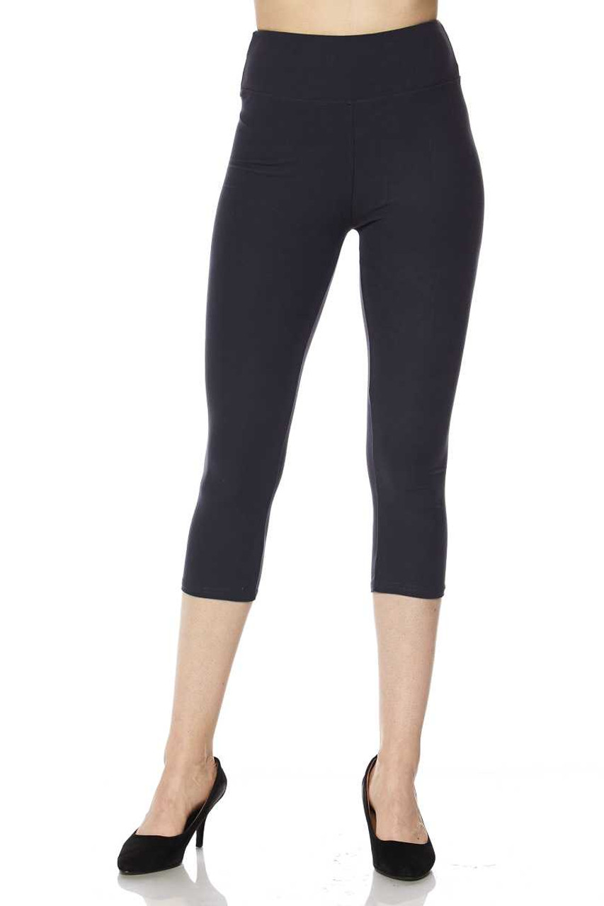 Front view of charcoal Buttery Soft Basic Solid High Waisted Plus Size Capris - 3 Inch - New Mix