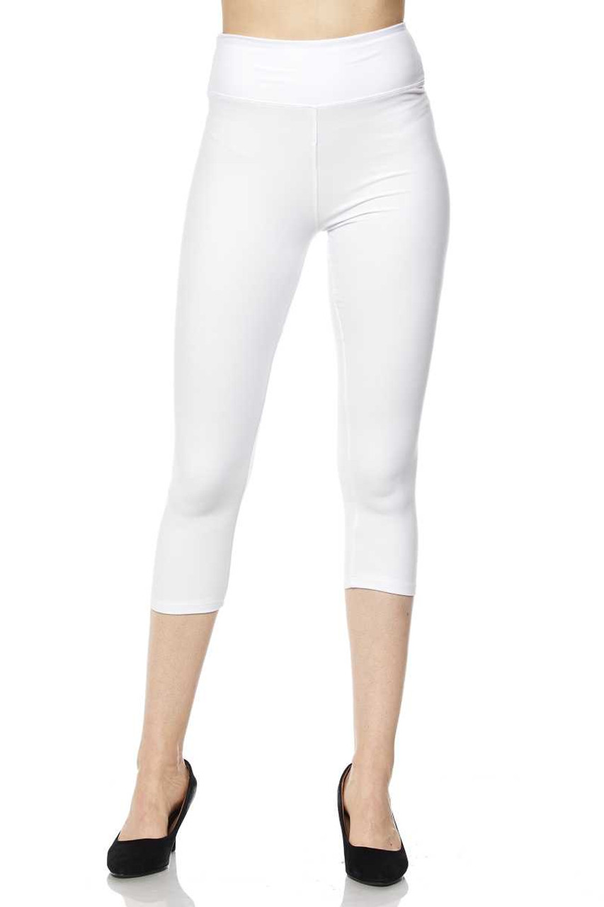 Front view of white Buttery Soft High Waisted Plus Size Basic Solid Capris - 3 Inch Band