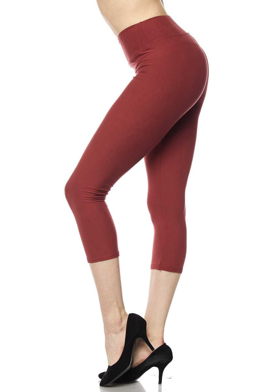 Buttery Soft High Waisted Plus Size Basic Solid Capris - 3 Inch Band