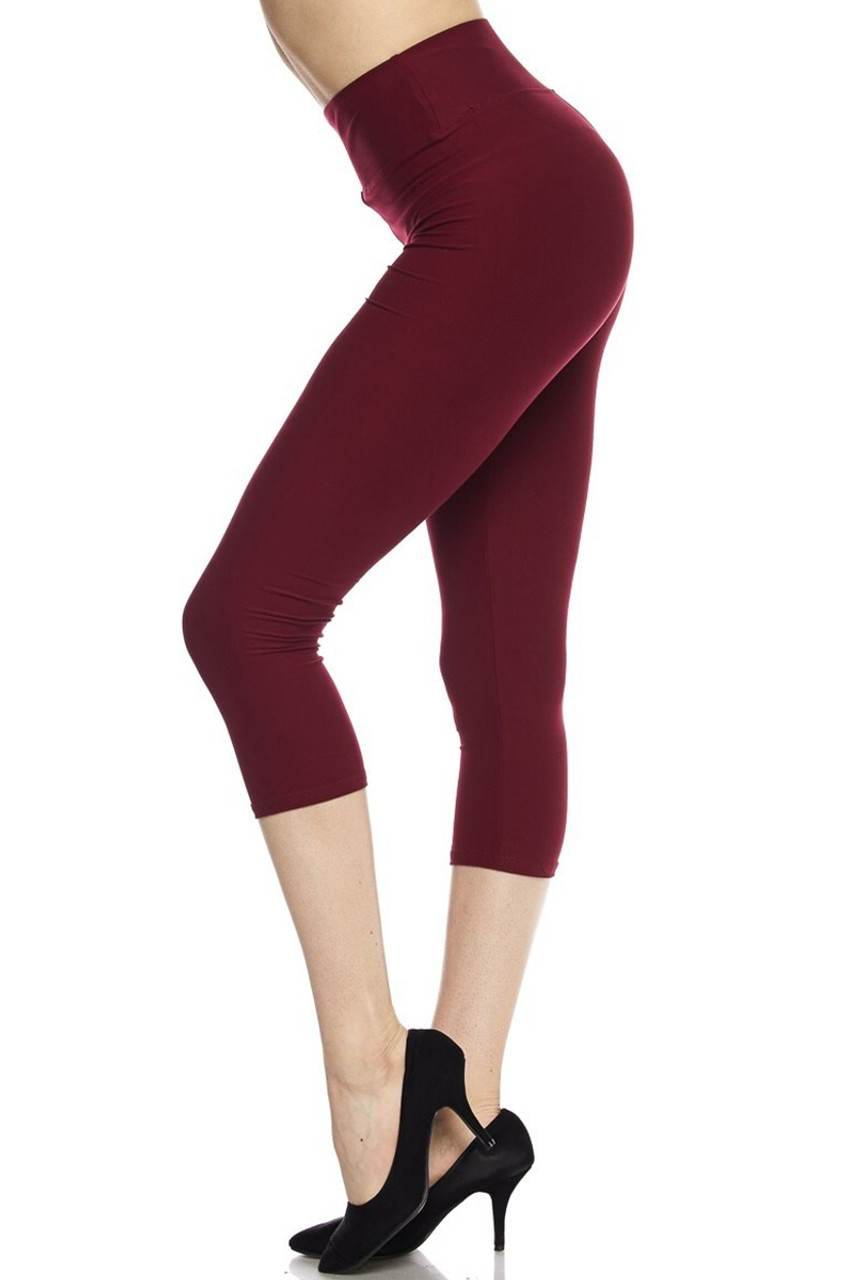 Left side view of burgundy Buttery Soft Basic Solid High Waisted Extra Plus Size Capris - 3 Inch - 3X-5X  - New Mix