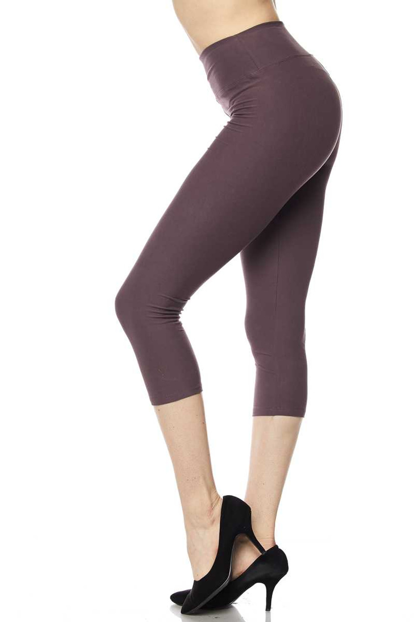 Left side view of dusty plum Buttery Soft Basic Solid High Waisted Extra Plus Size Capris - 3 Inch - 3X-5X  - New Mix