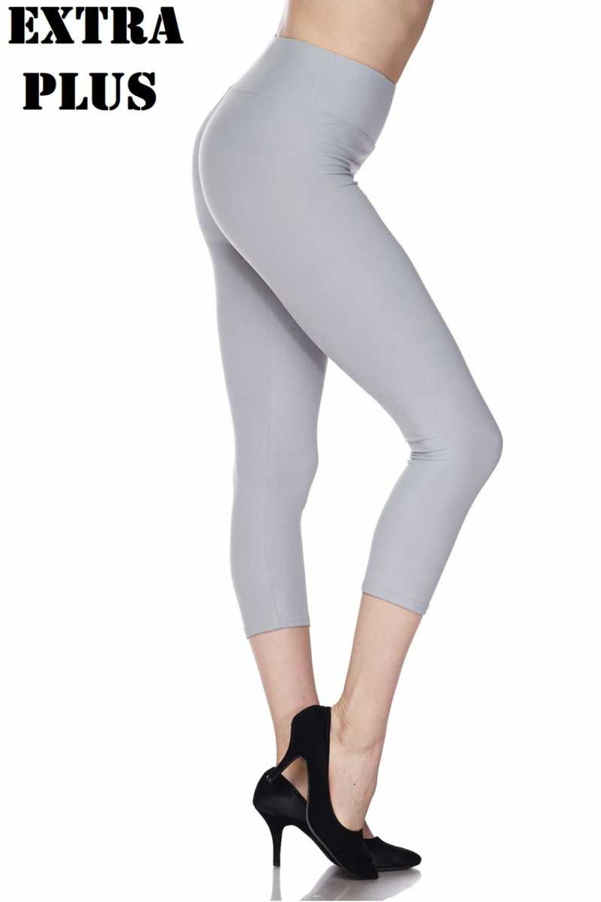 Right side view of heather gray Buttery Soft Basic Solid High Waisted Extra Plus Size Capris - 3 Inch - 3X-5X  - New Mix