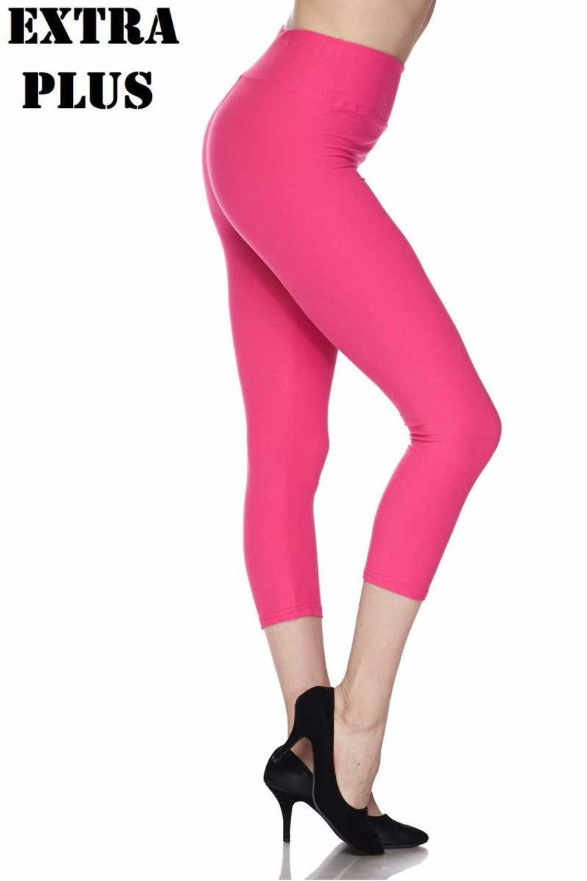 Right side view of fuchsia Buttery Soft Basic Solid High Waisted Extra Plus Size Capris - 3 Inch - 3X-5X  - New Mix