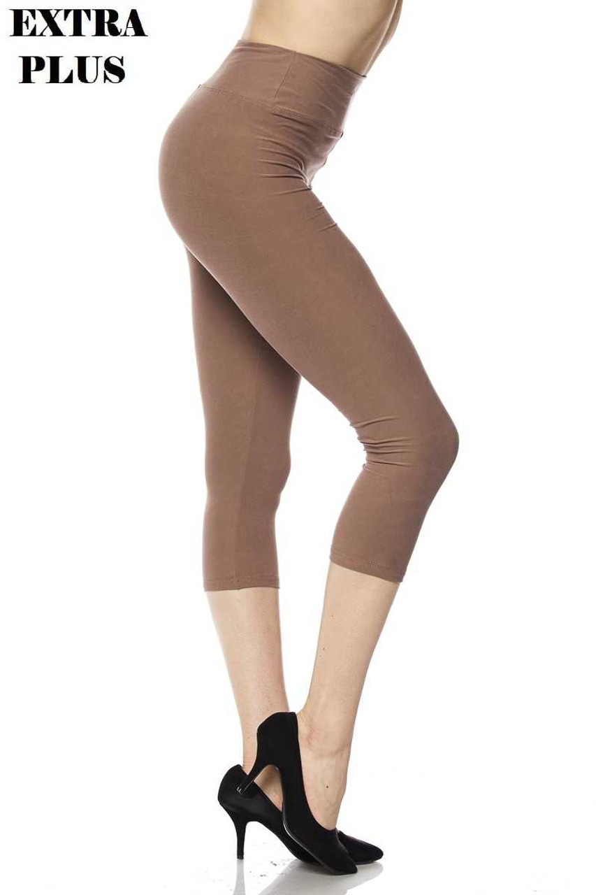 Right side view of mocha Buttery Soft Basic Solid High Waisted Extra Plus Size Capris - 3 Inch - 3X-5X  - New Mix