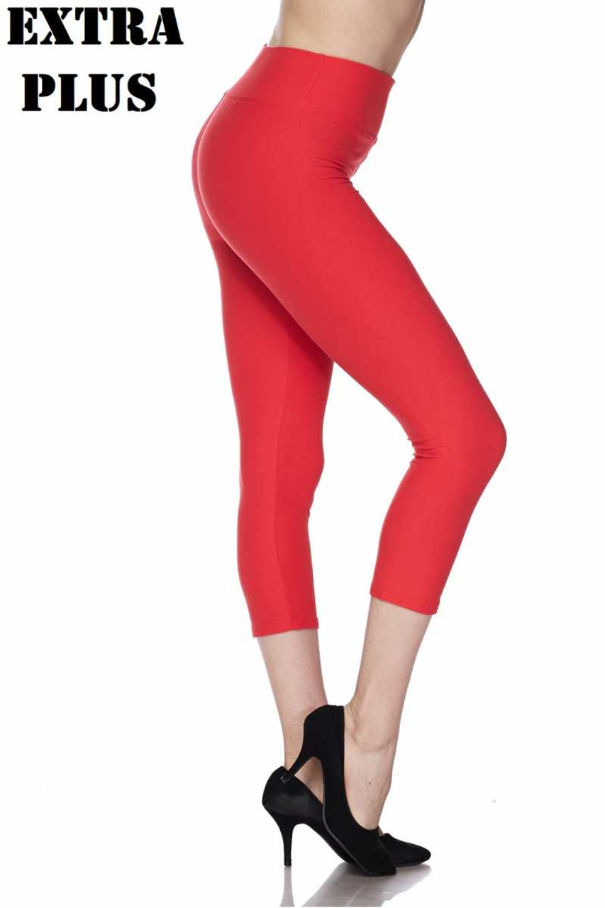 Right side view of coral Buttery Soft Basic Solid High Waisted Extra Plus Size Capris - 3 Inch - 3X-5X  - New Mix