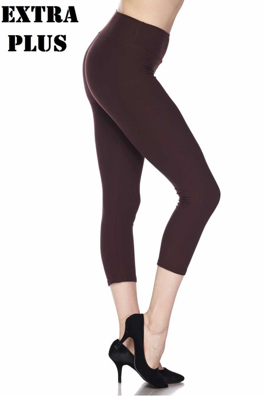 Right side view of brown Buttery Soft Basic Solid High Waisted Extra Plus Size Capris - 3 Inch - 3X-5X  - New Mix