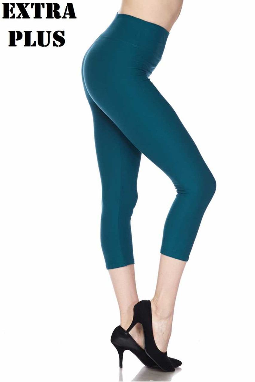 Right side view of teal  Buttery Soft Basic Solid High Waisted Extra Plus Size Capris - 3 Inch - 3X-5X  - New Mix
