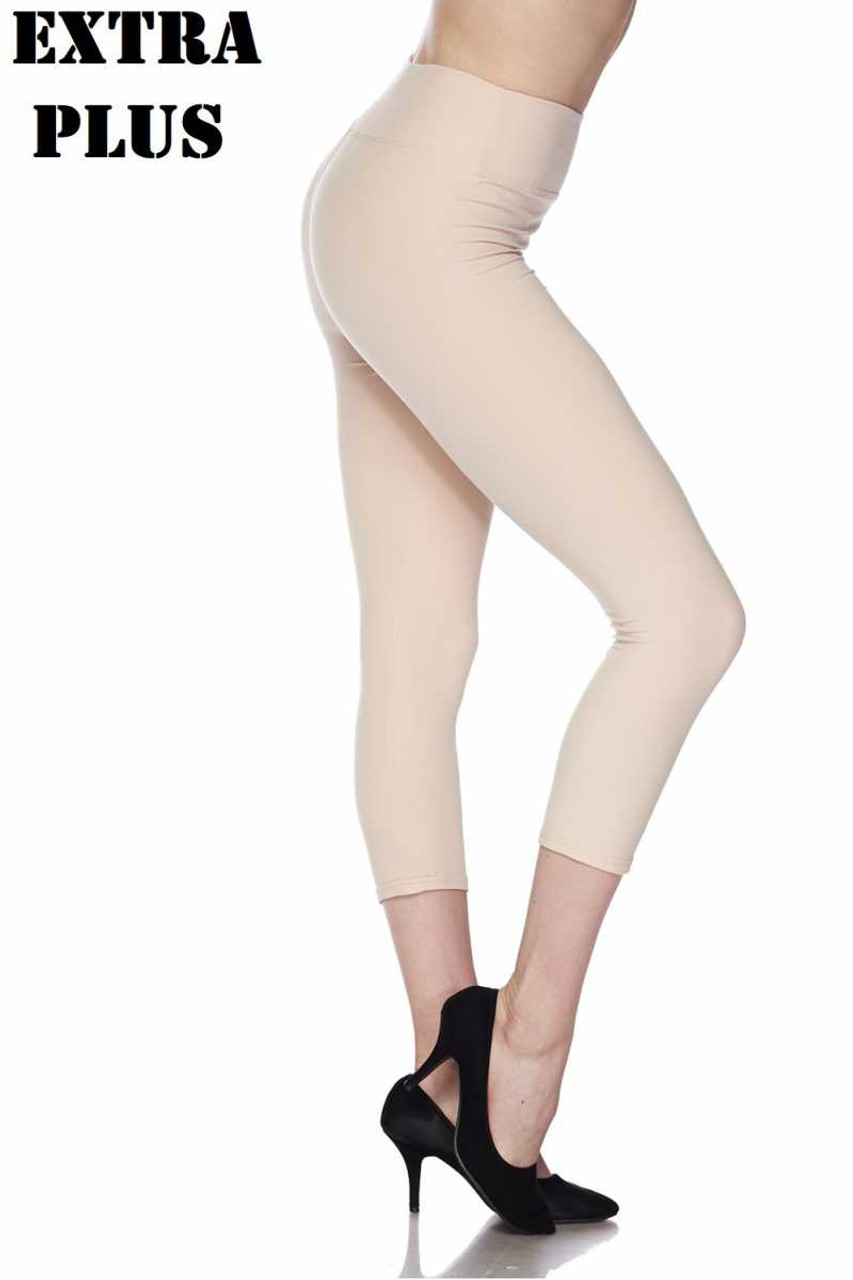 Right side view of beige Buttery Soft Basic Solid High Waisted Extra Plus Size Capris - 3 Inch - 3X-5X  - New Mix
