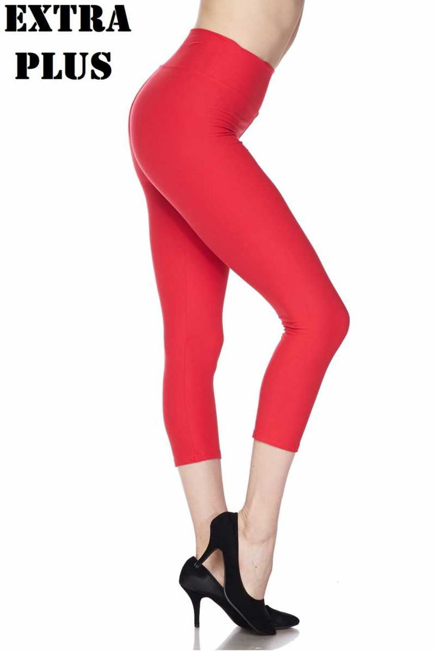 Right side view of red Buttery Soft Basic Solid High Waisted Extra Plus Size Capris - 3 Inch - 3X-5X  - New Mix