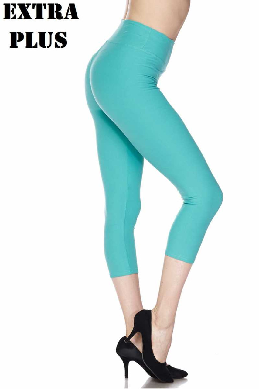 Right side view of mint Buttery Soft Basic Solid High Waisted Extra Plus Size Capris - 3 Inch - 3X-5X  - New Mix