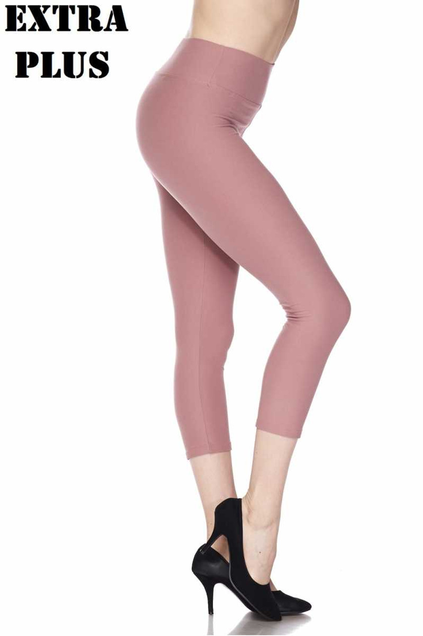 Right side view of pink Buttery Soft Basic Solid High Waisted Extra Plus Size Capris - 3 Inch - 3X-5X  - New Mix